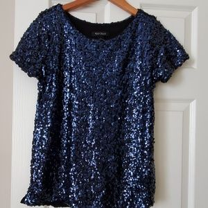 WHBM blue sequin top